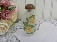 Vintage Art Glass Oriental Perfume Snuff Bottle with Yellow Poppy - The Pink Rose Cottage