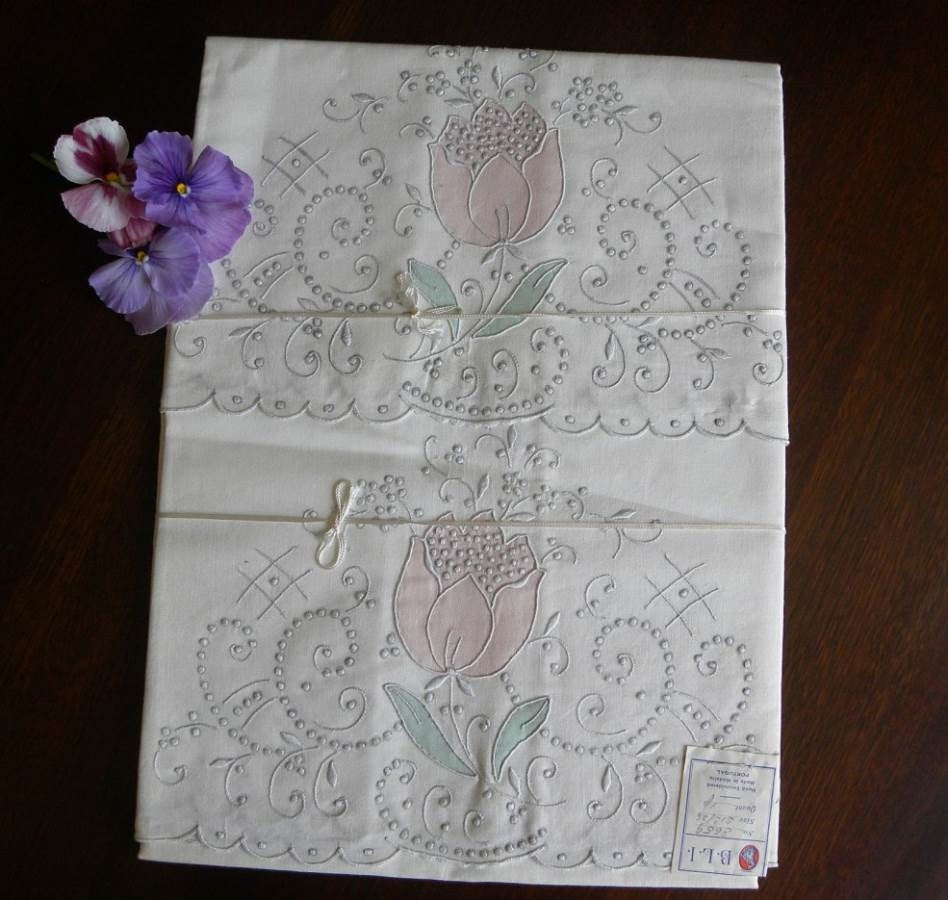 Unused Vintage Madeira Hand Embroidered Tulip Pillowcases (set A) - The Pink Rose Cottage