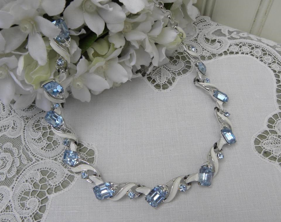 kramer rhinestone necklace enameled blue the vintage products with rhinestones white