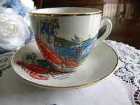 Weatherby Hanley Royal Falcon Ware  Nova Scotia Canada Lobster Teacup - The Pink Rose Cottage
