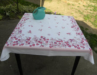 Vintage Pink Strawberries and Blossoms Tablecloth - The Pink Rose Cottage