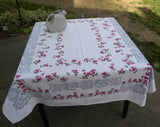 Vintage Roses and Pansies Tablecloth - The Pink Rose Cottage