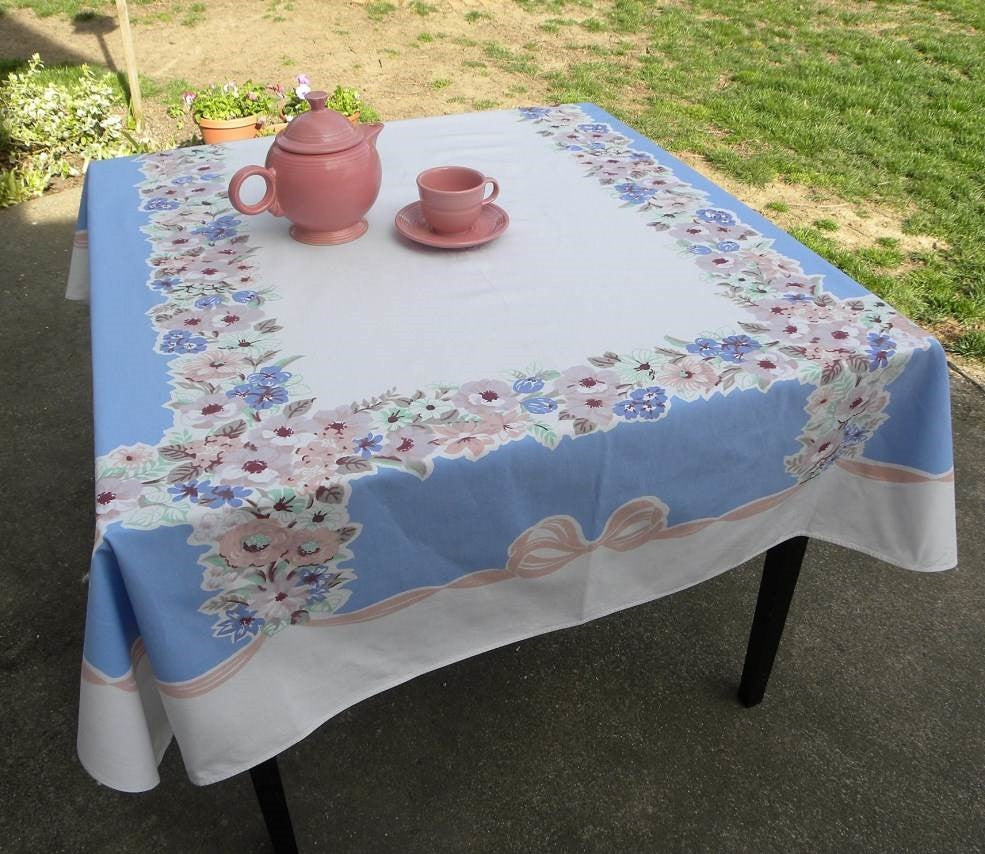 Vintage Flowers and Bows Pink Blue and More Tablecloth - The Pink Rose Cottage