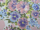 Vintage Simtex Pink and Purple Spring Flowers Tablecloth - The Pink Rose Cottage