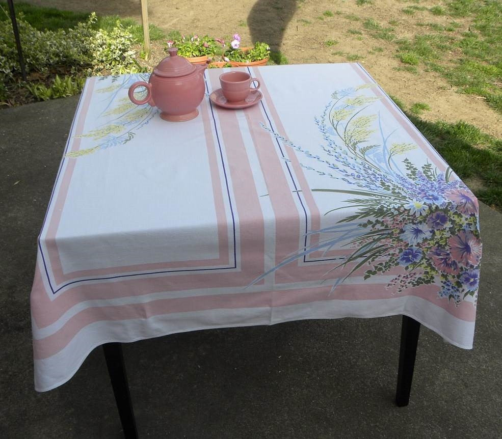 Vintage Simtex Pink And Purple Spring Flowers Tablecloth | The Pink Rose  Cottage