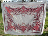 Vintage Pink and Maroon Bleeding Hearts Tablecloth - The Pink Rose Cottage