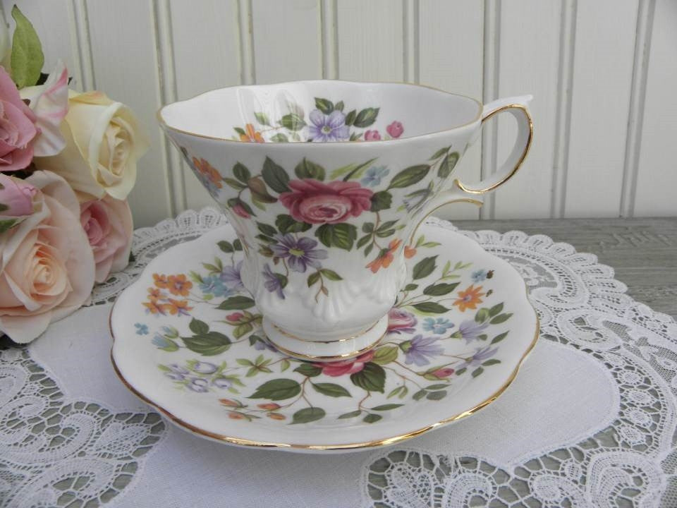 "Vintage Royal Albert Random Harvest Series ""Devon"" Teacup and Saucer - The Pink Rose Cottage"