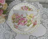 "Royal Albert Flower of the Month ""Happy Anniversary"" Teacup and Saucer - The Pink Rose Cottage"