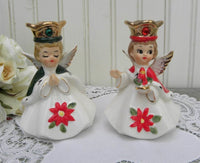 Pair of Vintage Josef Original Christmas Angels Candle Holders Figurines - The Pink Rose Cottage