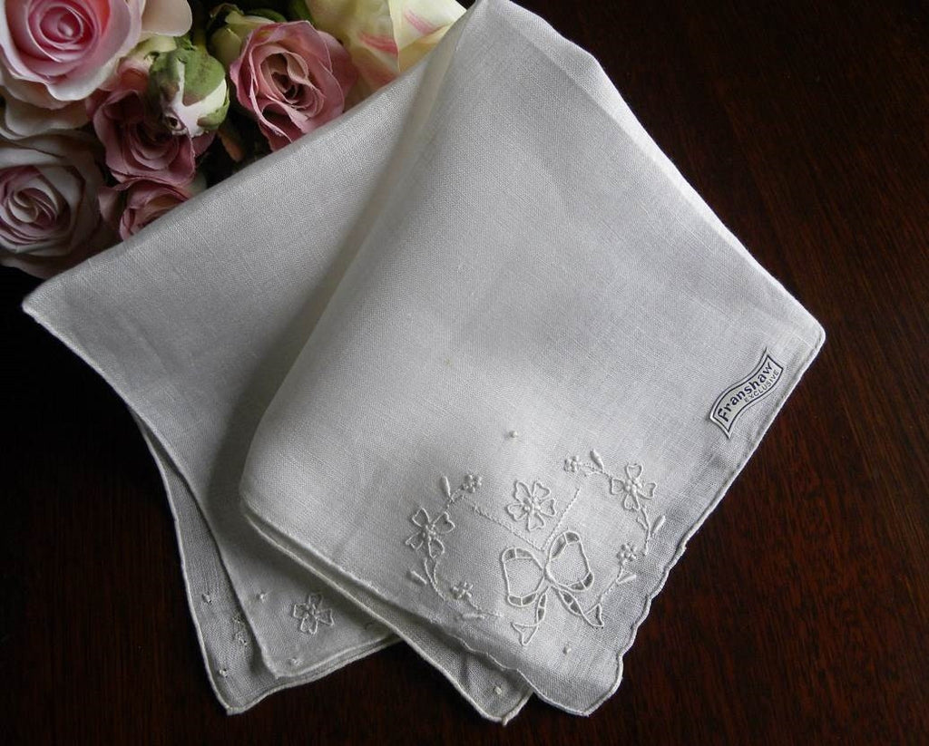 Tagged Vintage Franshaw Madeira Linen Whitework Wedding Bridal Handkerchief with Bow - The Pink Rose Cottage