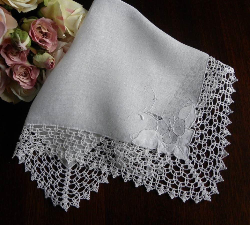 Vintage Linen and Lace Whitework Embroidered Bridal Handkerchief - The Pink Rose Cottage