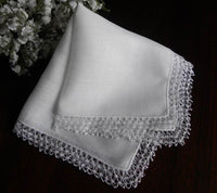 Vintage Linen and Tatted Lace Bridal Wedding Handkerchief - The Pink Rose Cottage