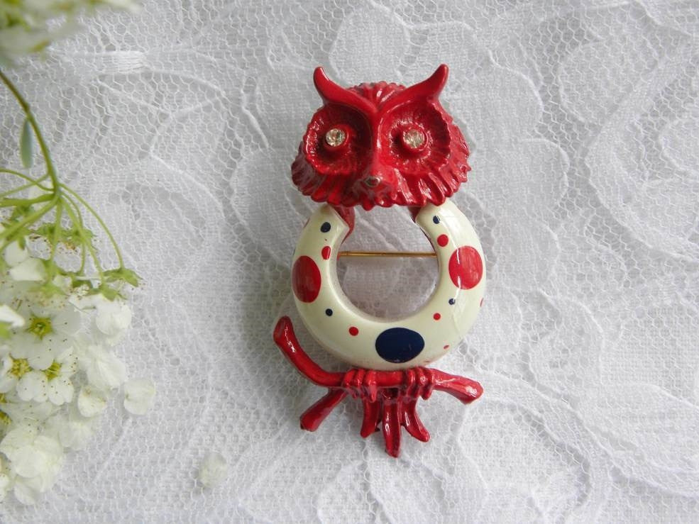 Vintage Red White and Blue Patriotic Enameled Owl Pin Brooch - The Pink Rose Cottage