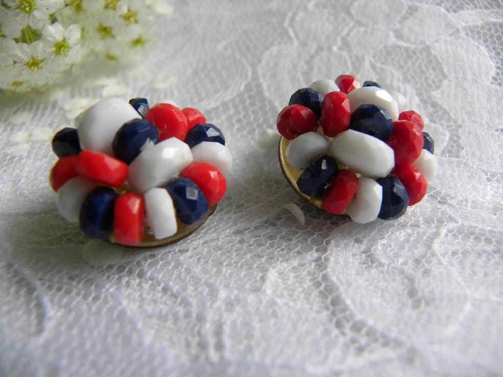 Vintage Red White and Blue Beaded Patriotic Earrings - The Pink Rose Cottage