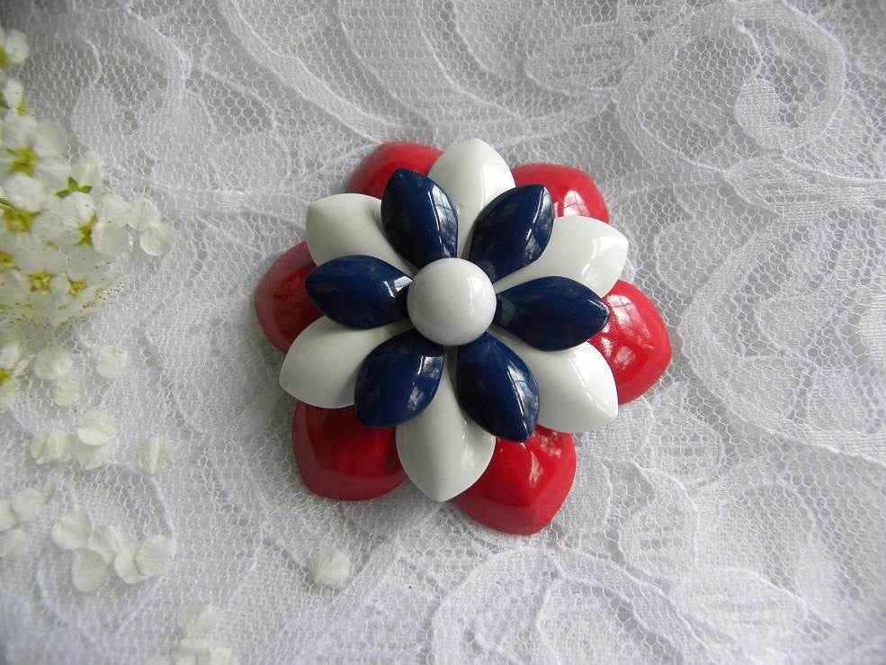 Vintage Red White and Blue Patriotic Enameled Flower Pin - The Pink Rose Cottage
