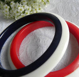 Pair of Vintage Red White and Blue Patriotic Bangle Bracelets - The Pink Rose Cottage