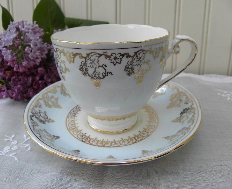 Vintage Royal Grafton Soft Blue with Gold Grapes Teacup and Saucer - The Pink Rose Cottage