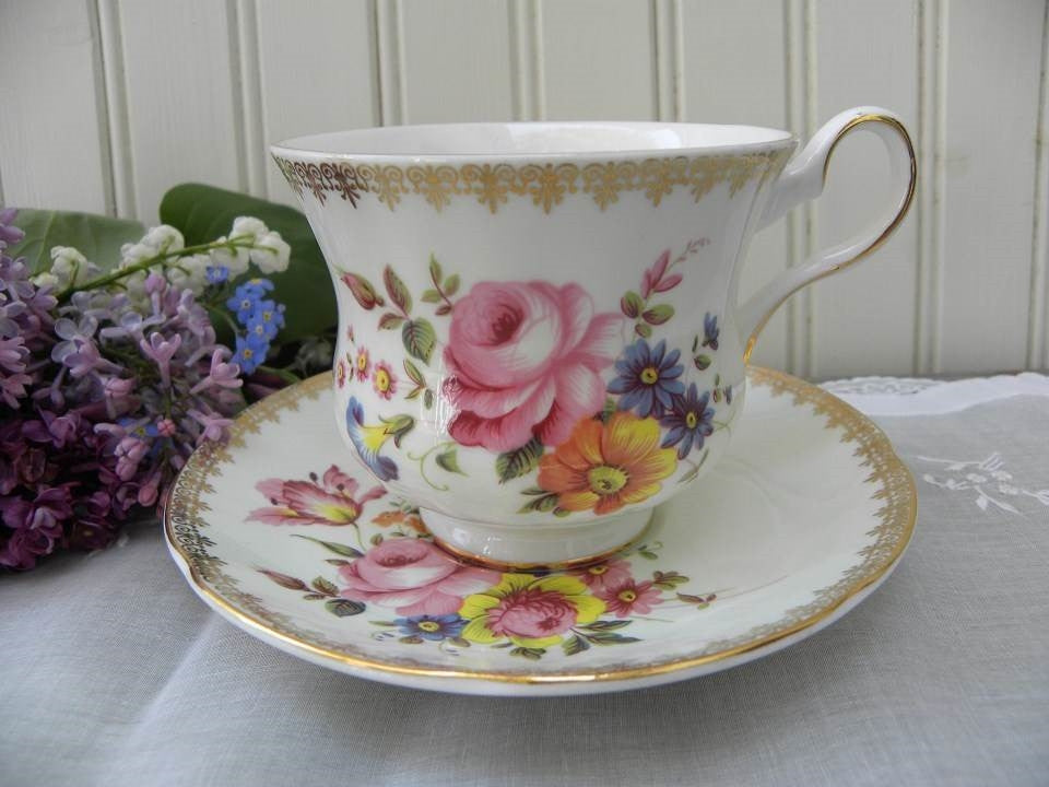 Vintage Royal Grafton Pink Rose and Wildflowers Teacup and Saucer - The Pink Rose Cottage