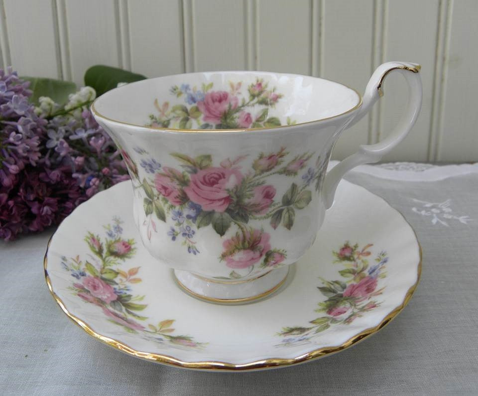 "Vintage Royal Albert ""Moss Rose"" Teacup and Saucer - The Pink Rose Cottage"