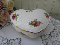 Vintage Royal Albert Old Country Roses Heart Shaped Trinket Box - The Pink Rose Cottage