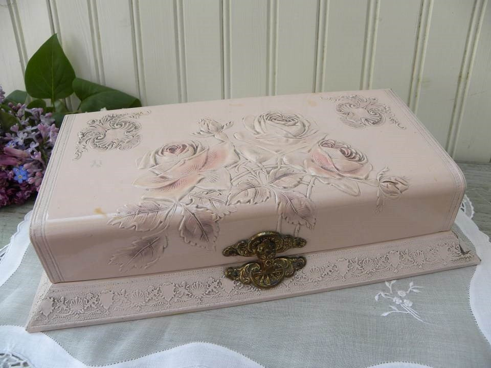 Antique Victorian Comb and Brush Dresser Box with Embossed Pink Roses - The Pink Rose Cottage