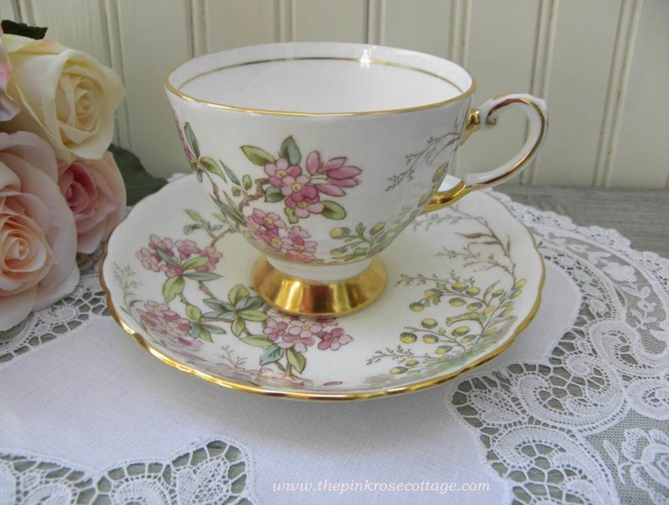 "Vintage Tuscan ""Alpine Flowers"" Pink Blossoms Teacup and Saucer - The Pink Rose Cottage"