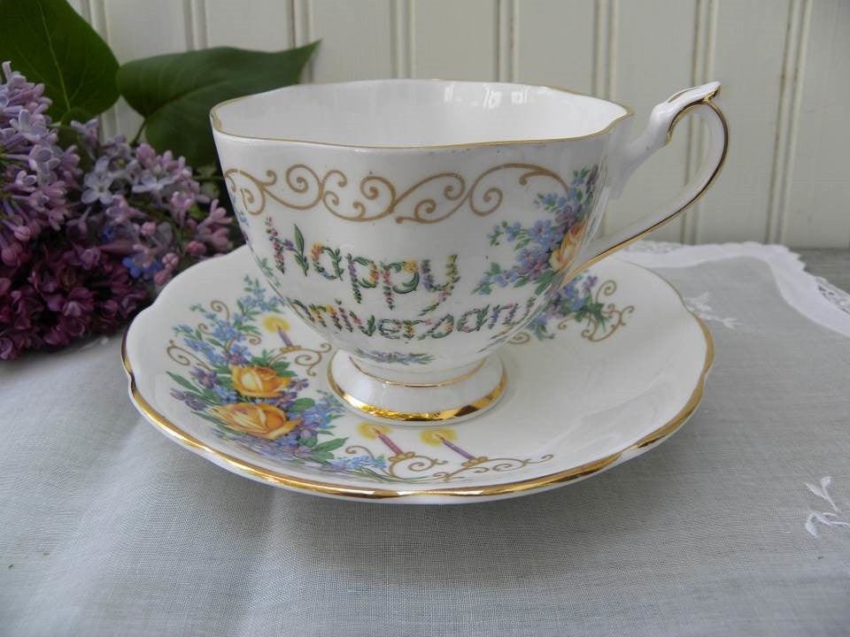 Vintage Princess Anne Happy Anniversary Yellow Roses with Candles Teacup and Saucer - The Pink Rose Cottage