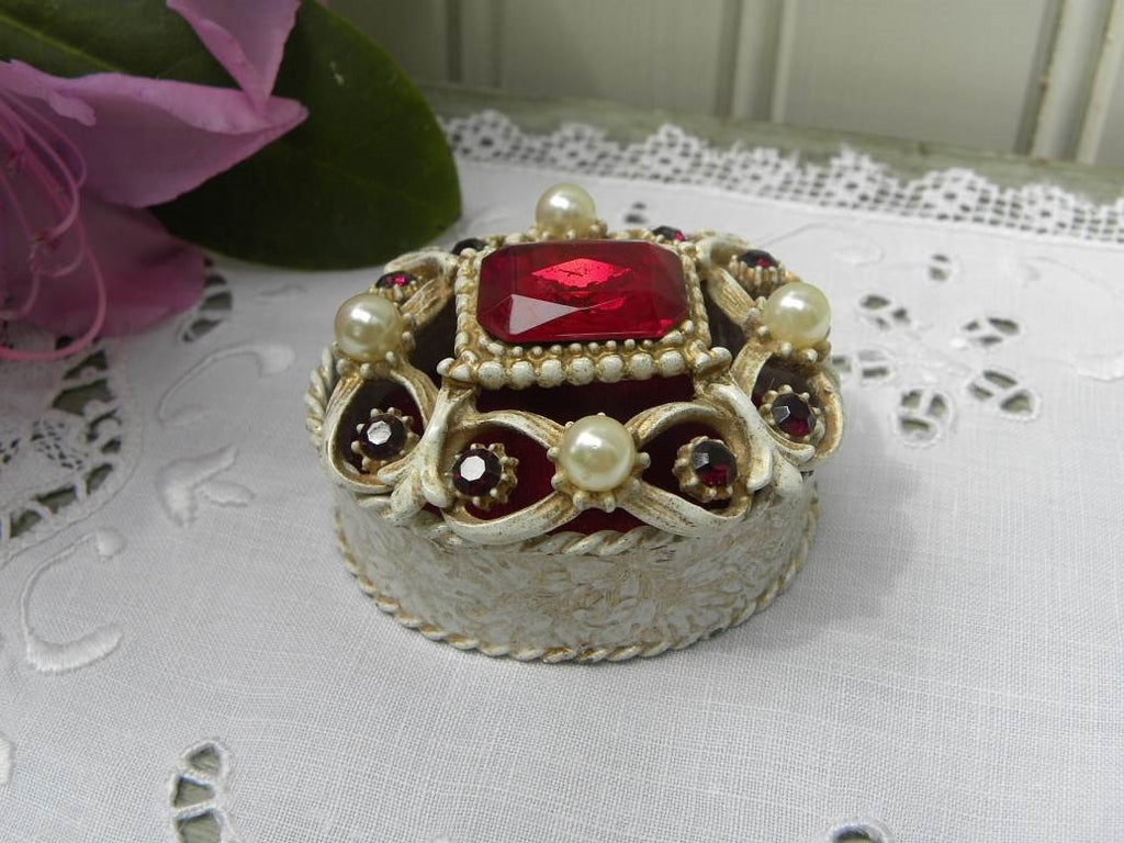 Vintage Florenza Signed Faux Pearl Rhinestone Ruby Red Jeweled Ring Trinket Box - The Pink Rose Cottage
