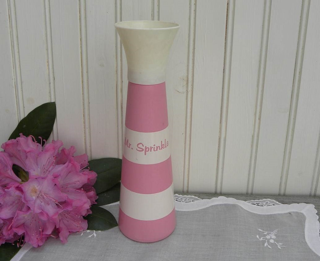 Vintage Pink and White Mr. Sprinkle Laundry Sprinkler - The Pink Rose Cottage