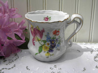 Vintage  Shaving Mug with Spring Flowers - The Pink Rose Cottage