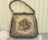 Vintage JR Tapestry Handbag Purse with 18th Century Couple in Garden - The Pink Rose Cottage