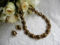 Vintage Trifari Brown and Gold Thermoset Necklace and Earrings - The Pink Rose Cottage