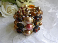 Vintage Brown Taupe and Pink Beaded Spring Bracelet - The Pink Rose Cottage