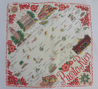 Vintage Souvenir of Puerto Rico Map Handkerchief - The Pink Rose Cottage