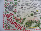 Vintage Souvenir of the State of Missouri Map Handkerchief - The Pink Rose Cottage