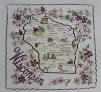 Vintage Souvenir  Map Handkerchief of Wisconsin State - The Pink Rose Cottage