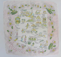 Unused Vintage Souvenir  Map Handkerchief of  Arizona State - The Pink Rose Cottage