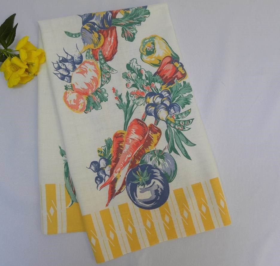 Vintage Vegetable Victory Garden Kitchen Tea Towel - The Pink Rose Cottage