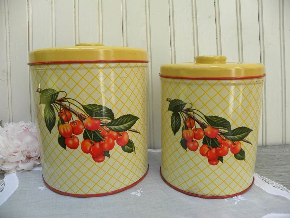 Two Vintage Decoware Metal Yellow Canisters with Cherries - The Pink Rose Cottage
