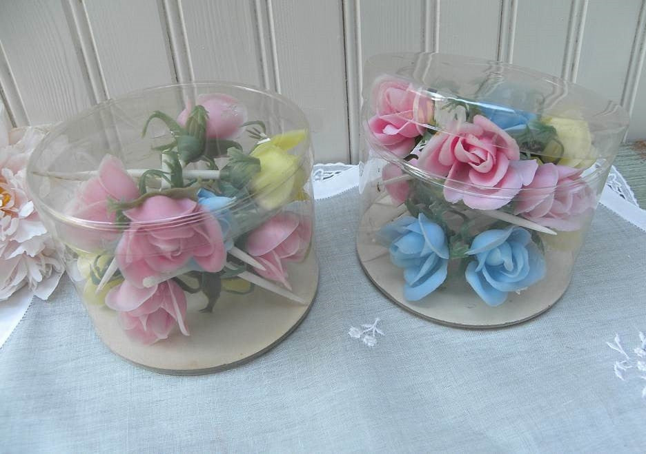 Vintage Pink Yellow Blue Rose Cocktail Cupcakes Party Picks - The Pink Rose Cottage