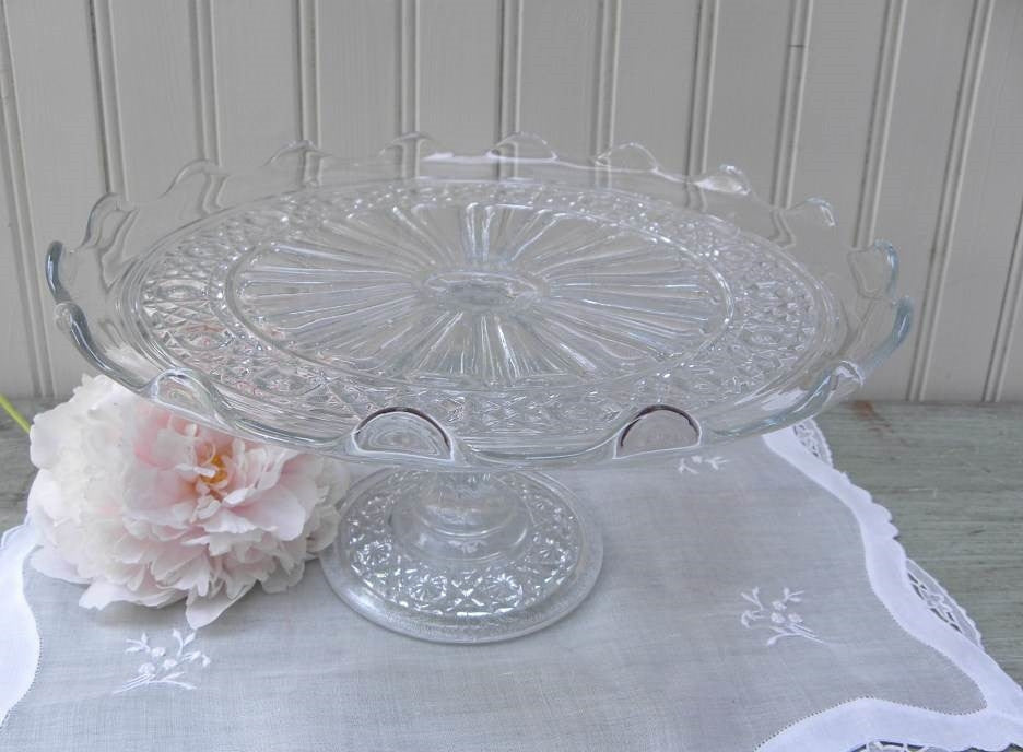 Vintage Pedestal Buttons and Bows Glass Cake Plate - The Pink Rose Cottage