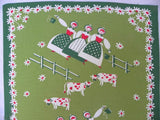 Vintage Milkmaids and Cows Kitchen Green Tea Towel - The Pink Rose Cottage