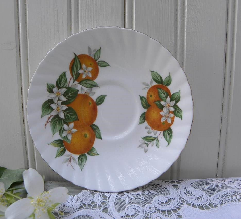"Vintage Elizabethan ""Florida Oranges"" Demitasse Saucer Only - The Pink Rose Cottage"