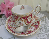Vintage Rosina Pink Rose with Burgundy Teacup and Saucer - The Pink Rose Cottage