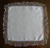 Vintage Purple Irish Linen Handkerchief with Rainbow Tatting Lace - The Pink Rose Cottage