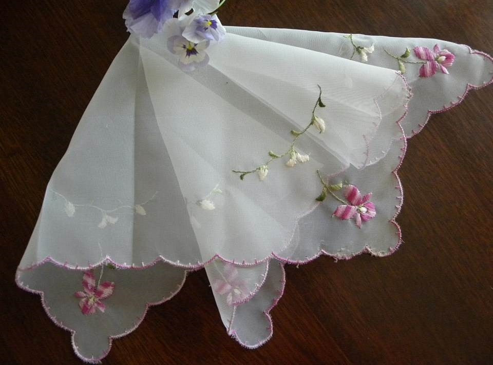 Vintage Sheer Handkerchief with Embroidered Violets and Lily of the Valley - The Pink Rose Cottage