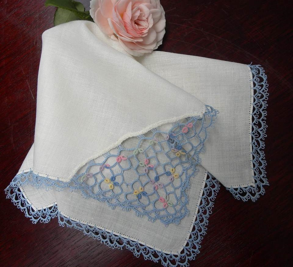 Vintage Blue Floral Tatted Linen Handkerchief - The Pink Rose Cottage