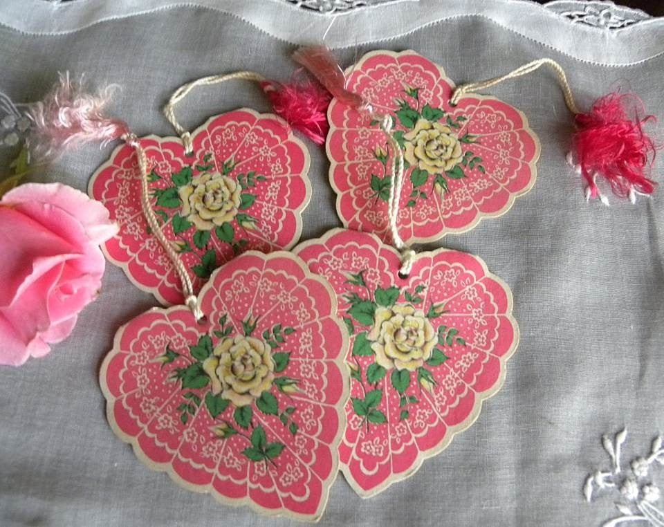 Vintage Bridge Tally Cards Pink Lacy Valentine Hearts and Roses Scrapbooking - The Pink Rose Cottage