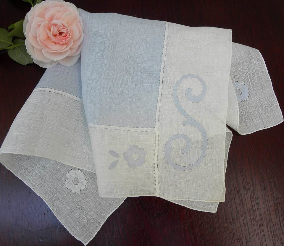 "Vintage Appliqued Monogrammed ""S"" Blue and White Linen Bridal Handkerchief - The Pink Rose Cottage"