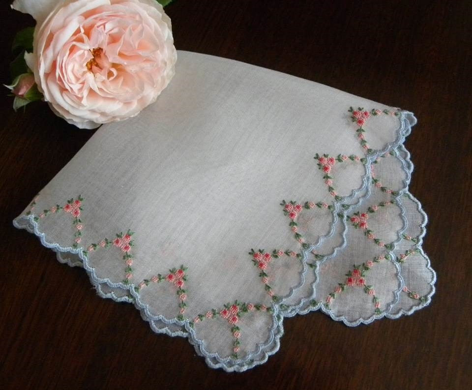 Vintage Embroidered Petite Point Rose Garlands Wedding Handkerchief - The Pink Rose Cottage